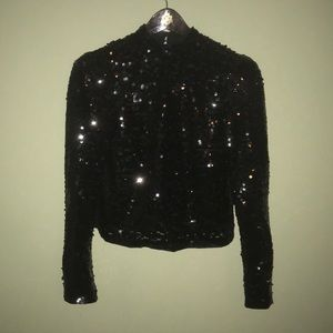 H&M Divided Sequin Long Sleeve Top Clubwear Shiny